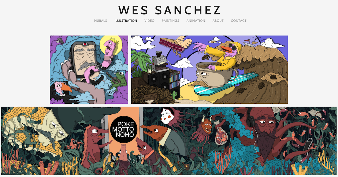 A gallery of illustrations on a white background. A page of Wesley Sanchez's portfolio.