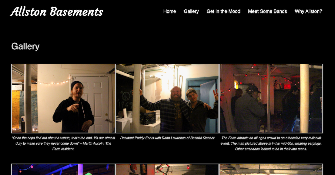 A gallery of captioned photos on a black background from the Allston Basements website.